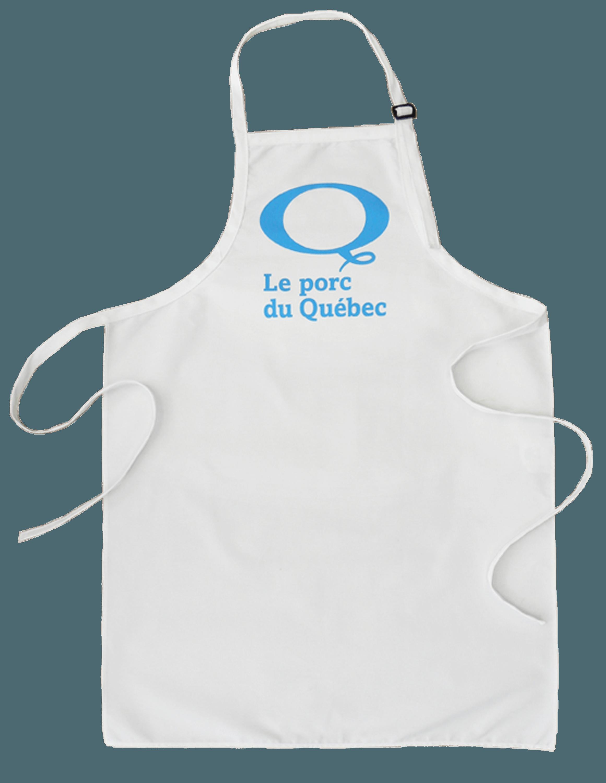 """Custom white aprons """"Le porc du Québec"""" made by Tex-Fab"""