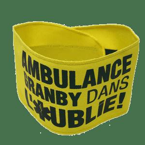 Brassard personnalisé jaune, fabriqué au Québec - Tex-Fab