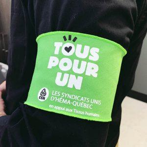 Brassard personnalisé vert, fabriqué au Québec - Tex-Fab
